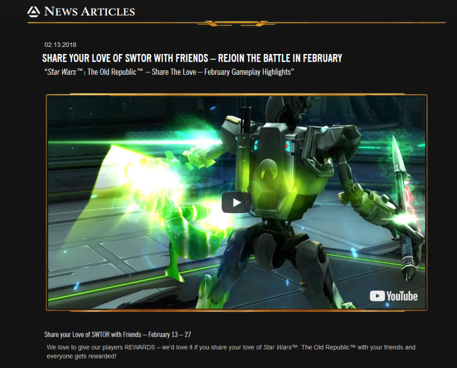 Star Wars The Old Republic News Articles