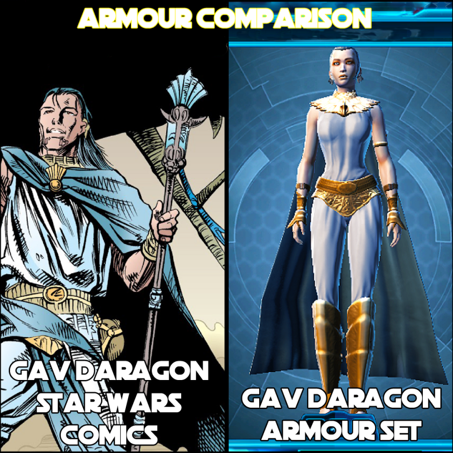 GAV DARAGON COMICS VS SWTOR ARMOUR SET