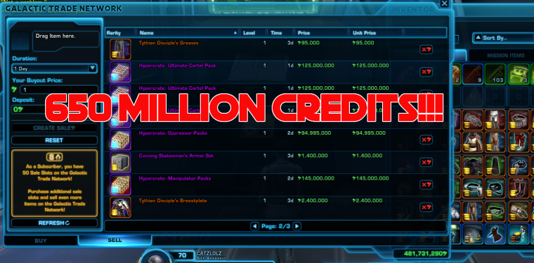 650 MILLION CREDITS SPENT