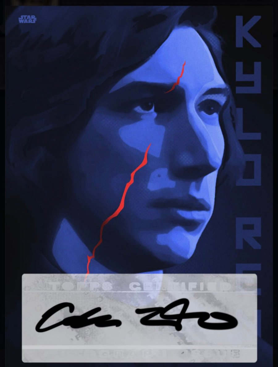 Kylo Ren Topps Card signed by Adam Driver