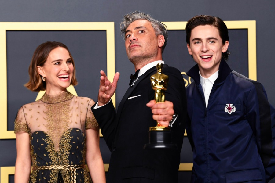 Taika Waititi, Natalie Portman and Timothee Chalanet at the 2020 Oscars