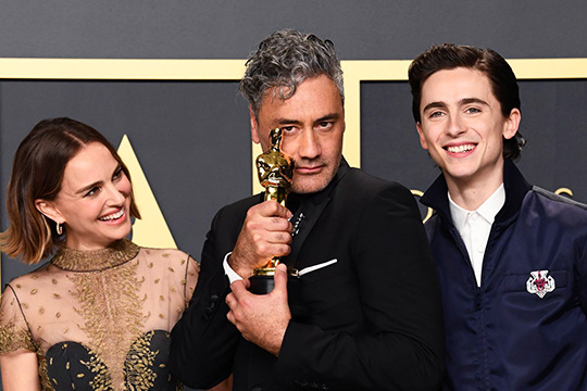 Taika Waititi, Natalie Portman and Timothee Chalamet at the 2020 Oscars