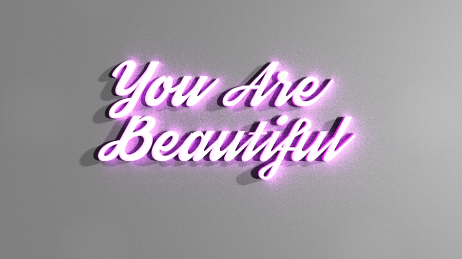 You Are Beautiful 3D Text